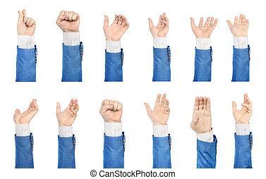 Set of hands in suit on a white background