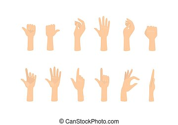 Set of hands showing different gestures