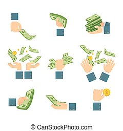 set of hands with banknotes