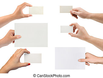 Set of hands with paper card