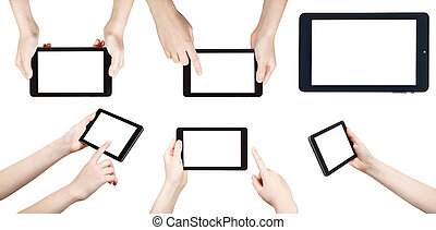 set of hands with tablet pc isolated on white