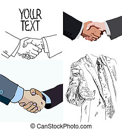 Set of handshake business people. Partnership. Vector illustrations.