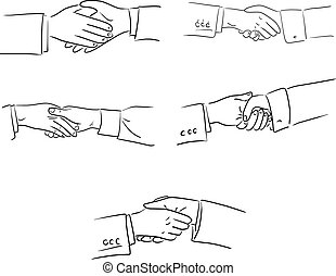 set of handshake of businessman vector illustration sketch doodle hand drawn with black lines isolated on white background