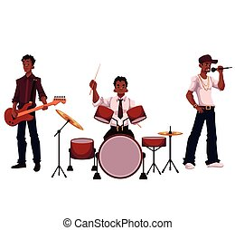 Set of handsome African male singer, drummer and guitar player