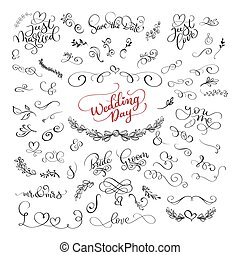 set of handwritten lettering calligraphy positive quotes about love and wedding and valentines day. romantic design, brush modern vector illustration
