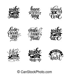 set of handwritten lettering positive quote about life,...