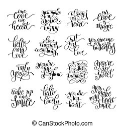 set of handwritten lettering positive quote about love to valentines day