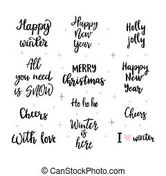 Set of handwritten Merry Christmas and Happy New Year lettering, wishes, sayings. Calligraphy for design greeting cards, posters or invitations