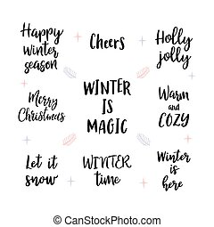Set of handwritten Merry Christmas and Happy New Year lettering, wishes, sayings. Calligraphy for design of greeting cards or invitations