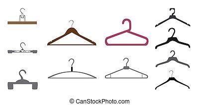 Set of Hanger. Isolated on White Background. Vector Illustration