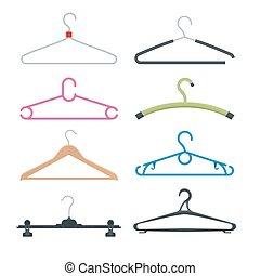 Set of hangers. Vector flat illustration