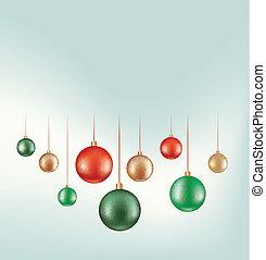 set of hanging ball decoration isolated on white