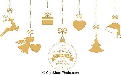 Set of hanging Christmas ornaments