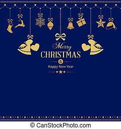 Set of hanging golden Christmas ornaments with angels