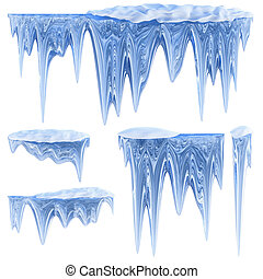 set of hanging thawing icicles of a blue shade - set of...