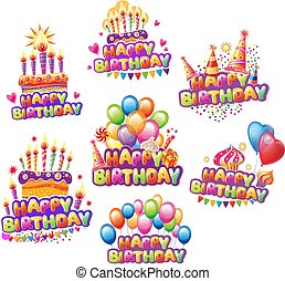 Set of Happiness Birth day stickers