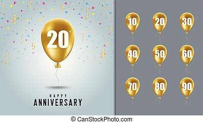 Set of happy anniversary background. Golden balloon with anniversary celebration background. Design template for booklet, leaflet, magazine, brochure poster, web, invitation or greeting card.