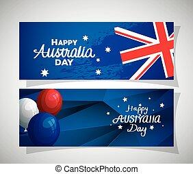 set of happy australia day with decoration