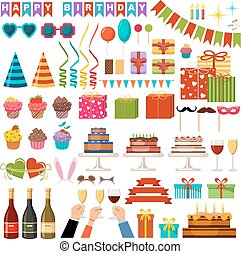 Set of happy birthday party accessories