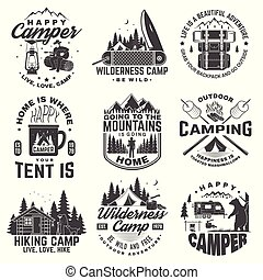 Set of Happy camper outdoor adventure symbol. Vector. Concept for shirt or logo, print, stamp. Vintage design with lantern, camping tent, campfire, bear, man with guitar and forest silhouette.