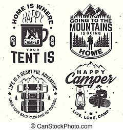 Set of Happy camper outdoor adventure symbol. Vector. Concept for shirt or logo, print, stamp or tee.