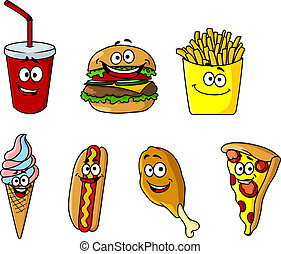 Set of happy cartoon takeaway food icons with a soda,...