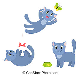 Set of happy cats 1.