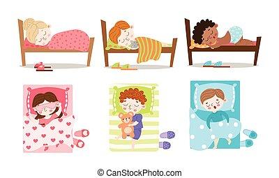 Set of happy children sleeping in beds vector illustration