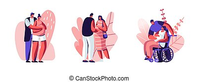 Set of Happy Couples Waiting Baby. Healthy and Disabled Pregnant Female Characters with their Husbands. Girl on Wheelchair. Motherhood, Maternity, Family Relations. Cartoon People Vector Illustration