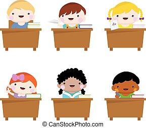 set of happy cute school children