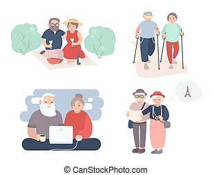 Set Of Happy Elderly Couple. Grandparents In Different Situations  Collection. Active Lifestyle Of Old