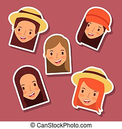 set of happy faces women avatar icons