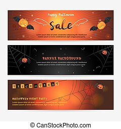Set of happy Halloween banner background for event sales with evil wings, spider web, pumpkin spider and bats