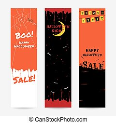 Set of happy Halloween banner background in vertical for sale event