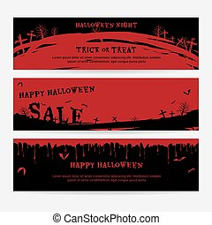 Set of happy Halloween banners background in spooky red graveyard theme with flying bats