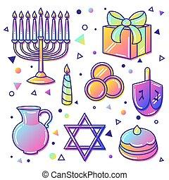 Set of Happy Hanukkah celebration objects and icons.