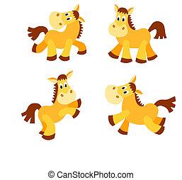 Set of happy horses.