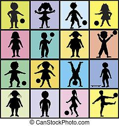 Set of happy kids playing