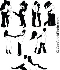 Set of happy love couple silhouettes. Vector Illustration. Boys and girls