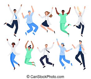 Set of happy medicine workers. Multicultural men and women jumping with raised hands in various poses. Doctors, surgeons, nurses rejoicing together. Characters in vector flat style.