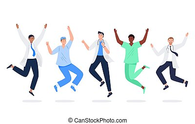 Set of happy medicine workers. Multicultural men jumping with raised hands in various poses. Doctors, surgeons, nurses rejoicing together. Characters in vector flat style.