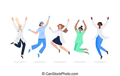 Set of happy medicine workers. Multicultural women jumping with raised hands in various poses. Doctors, surgeons, nurses rejoicing together. Characters in vector flat style.
