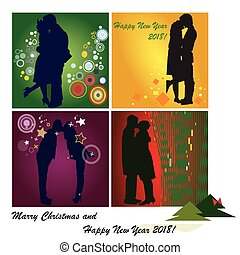 Set of Happy New Year cards on white background