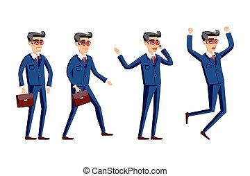 Set of Happy office man. Vector illustration