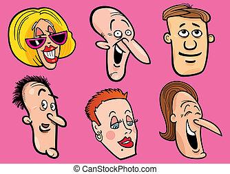 Cartoon illustration of happy people faces set
