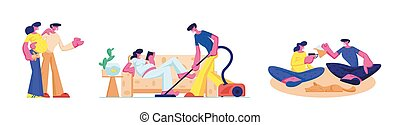 Set of Happy People Loving Relations and Waiting Baby. Male and Female Characters Spend Time Together Pregnant Woman Relax on Couch, Man Cleaning Home. Couple Drink Tea. Cartoon Vector Illustration