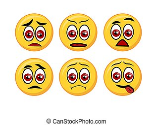 Set of happy, smile, laughing, joyful, sad, angry and crying faces yellow emoticons