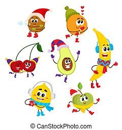 Set of happy smiling fruit characters in winter