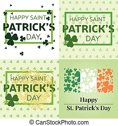 Set of Happy St. Patrick's Day greeting cards. Vector illustration.