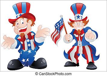 Set of Happy Uncle Sam